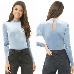 NWOT Mock Neck Velvet Bodysuit in Light Blue